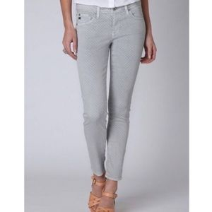 AG The Stevie Ankle Gray White Polka Dot Jeans 27
